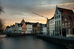 Sunset on the canal in Bruges, Belgium Stock Photo