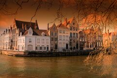 Sunset at a canal in Brugge, Belgium