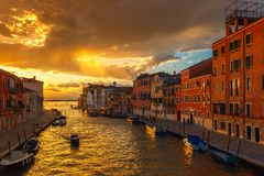 Sunset on canal Cannaregio in Venice, Italy Royalty Free Stock Photography