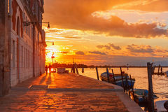 Sunset on canal Cannaregio in Venice, Italy Stock Photography