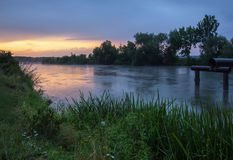 Sunset on a canal. Sunset colors on a canal in Ukraine Royalty Free Stock Photos