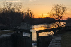 Sunset on the canal. Sunset down the Historic I & M Canal lock in LaSalle, Illinois, U.S.A Royalty Free Stock Images