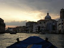 Sunset canal grande. Venmice Italy Stock Photos