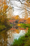 Sunset by a canal in Netherlands where Van Gogh painted Stock Images