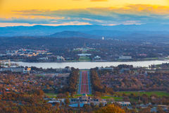 Sunset Canberra. Canberra is Australia's capital, inland from the country's southeast coast. Surrounded by forest, farmland and nature reserves, it earns its Stock Photo