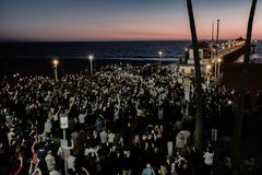 Sunset Candlelight Vigil. Memorial for two Manhattan Beach residents killed in the Las Vegas mass shooting, October 2017 Royalty Free Stock Images