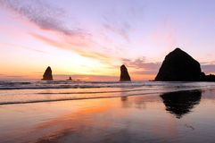 Sunset at Cannon Beach Royalty Free Stock Photography
