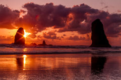 Sunset at Cannon Beach Oregon Royalty Free Stock Photography