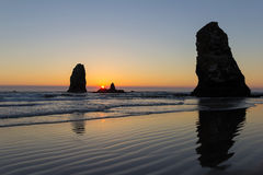 Sunset at Cannon Beach Oregon Royalty Free Stock Photo