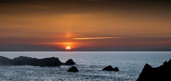 Sunset at Cantabrian coast Stock Photo