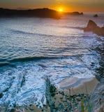 Sunset at Cantabrian coast Royalty Free Stock Photos