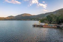 Sunset at Canto da Lagoa area of Lagoa da Conceicao - Florianopolis, Santa Catarina, Brazil Royalty Free Stock Image