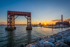 Sunset at Canton Waterfront Park, in Baltimore, Maryland royalty free stock photos