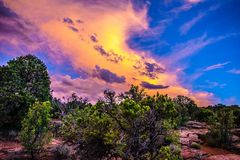 Sunset through the Canyon Gorge on the monuments in Grand Junction, Colorado. Sunset through the Canyon gorge on the monuments in Colorado National Monument in stock images