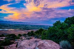 Sunset through the Canyon Gorge on the monuments in Grand Junction, Colorado. Sunset through the Canyon gorge on the monuments in Colorado National Monument in royalty free stock photo