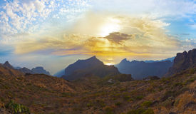 Sunset in canyon Masca at Tenerife island - Canary Royalty Free Stock Photography