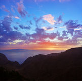 Sunset in canyon Masca at Tenerife island - Canary Royalty Free Stock Photos