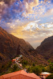 Sunset in canyon Masca at Tenerife island - Canary Royalty Free Stock Image
