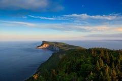 Sunset on Cap Bon Ami. High angle shoot of Cap Bon Ami peninsula in Forillon National Park Stock Photos