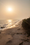 Sunset on Cape Coast beach, Ghana Royalty Free Stock Images