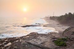 Sunset on Cape Coast beach, Ghana Royalty Free Stock Photos