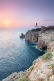Sunset at Cape St. Vincent, Continental Europe's most South-west. View of the lighthouse and cliffs at Cape St. Vincent at sunset. Continental Europe's most royalty free stock images
