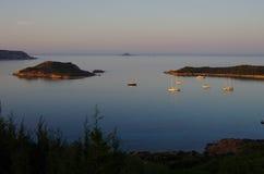 Sunset at Capo Coda Cavallo, near Olbia Royalty Free Stock Photos