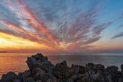 SUNSET AT CAPO RAMA. RESERVE, TERRASINI, PROVINCE OF PALERMO SICILY royalty free stock photography