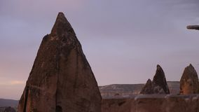 Sunset in Cappadocia with its rocky terrain. In the summer stock footage