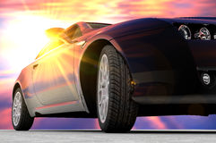 Sunset car Royalty Free Stock Image