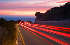 Sunset Car Light Trails Stock Photos