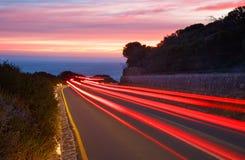 Sunset Car Light Trails Stock Photos