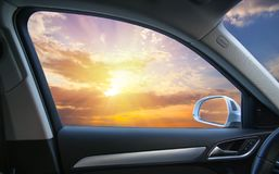 sunset from the car window stock photography