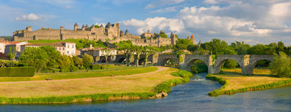 Sunset in Carcassonne Stock Image