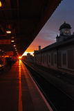 Sunset at Cardiff Railway Station Royalty Free Stock Photo