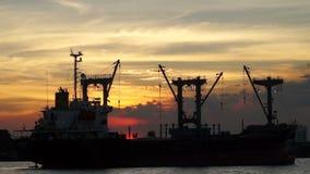 Sunset Cargo ship Chao phraya River. Sunset Cargo ship at Chao phraya River stock video
