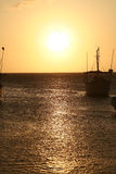 Sunset in the Caribbean. Caribbean Sea, Taganga Bay. Colombia. Sunset and Boats Stock Photography