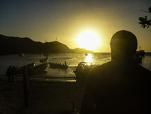 Sunset at the Caribbean Bay of Taganga in Colombia Royalty Free Stock Images