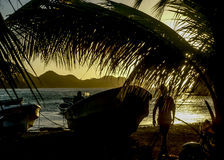 Sunset at the Caribbean Bay of Taganga in Colombia Royalty Free Stock Image
