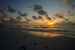 Sunset on the beach. Sunset on the caribbean beach Royalty Free Stock Image
