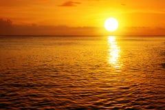 Sunset on caribbean beach. Golden Sunset on caribbean beach.Selandscape with sun and ocean Stock Photography