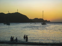 Sunset at the Caribbean Beach of Taganga in Colombia Royalty Free Stock Images