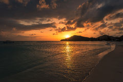 Sunset on the caribbean beach Stock Image