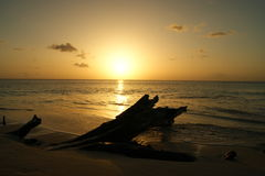 Sunset on a Caribbean island. Sunset on Antigua in the Caribbean Royalty Free Stock Photo