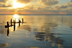 Sunset in the Caribbean sea by Caye Caulker island, Belize Stock Photos