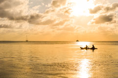Sunset in the Caribbean sea by Caye Caulker island, Belize Stock Image