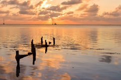 Sunset in the Caribbean sea by Caye Caulker island, Belize Stock Images