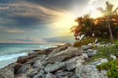 Sunset at Caribbean Sea in Mexico Royalty Free Stock Photography