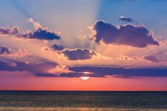 Sunset in the Caribbean sea Royalty Free Stock Photo
