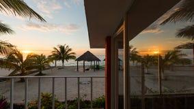 Sunset caribbean villa. Reflection sunset caribbean beach villa Stock Image